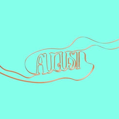 Ribbon font forms 'August', vector illustration