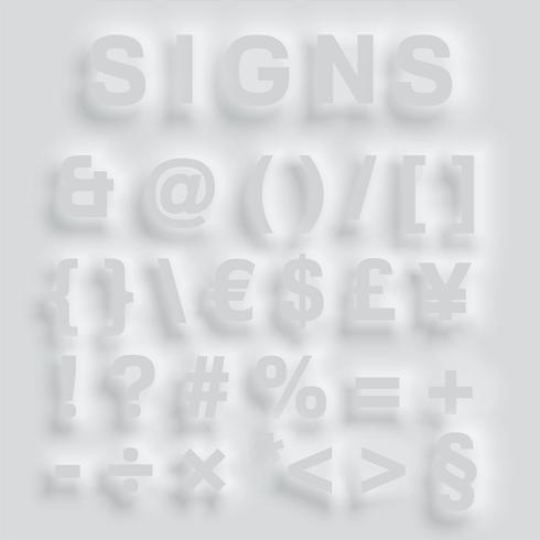 Tipografía abultada gris, vector
