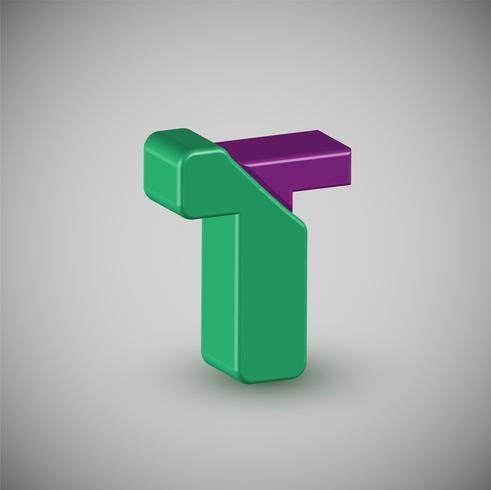 Colorido personaje 3D de una tipografía, vector