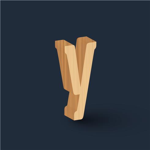 Carácter de fuente de madera 3D, vector