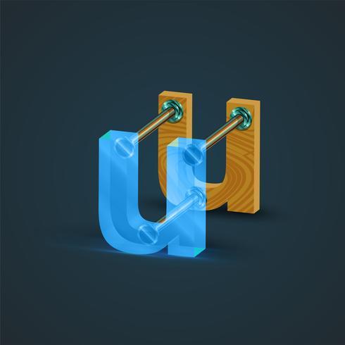 3D, realistisch glas en houten karakter, vector