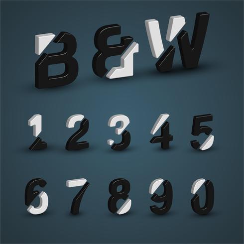 3D black and white font set, vector illustration