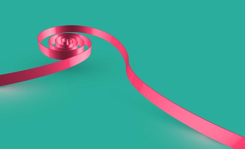 Ruban swirly rose sur fond vert, vecteur