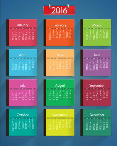 Realistic colorful calendar set, vector illustration