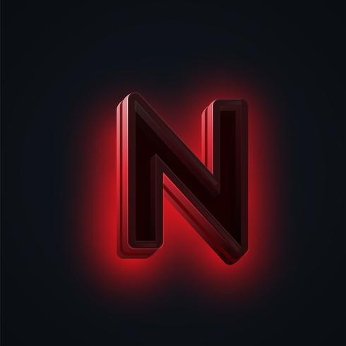 Carácter de luces de neón 'CLUB' rojo de un conjunto de fuentes, vector