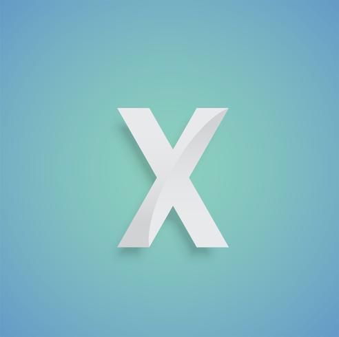 Personaje de papel blanco sobre fondo azul de una tipografía, vector