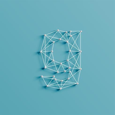 Un personaje hecho por pins y líneas, 3D y realista, vector. vector