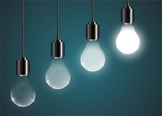 Creative lightbulb illustration on a blue background, vector