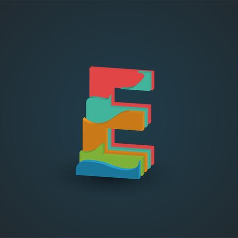 Bunter überlagerter Charakter 3D von einem fontset, Vektor
