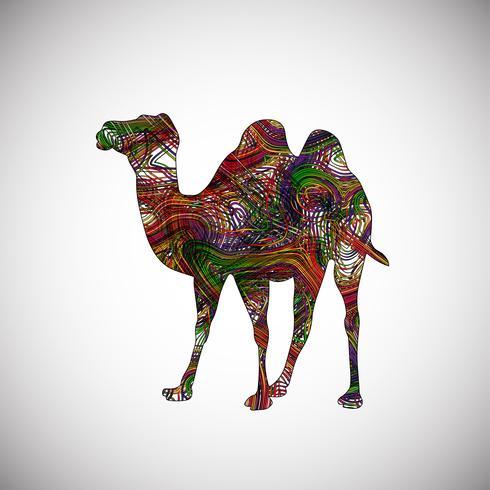 Kleurrijke kameel gemaakt door lijnen, vector illustratie