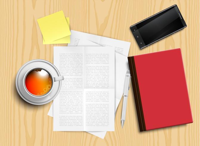 Escritorio de oficina realista con diferentes objetos, ilustración vectorial