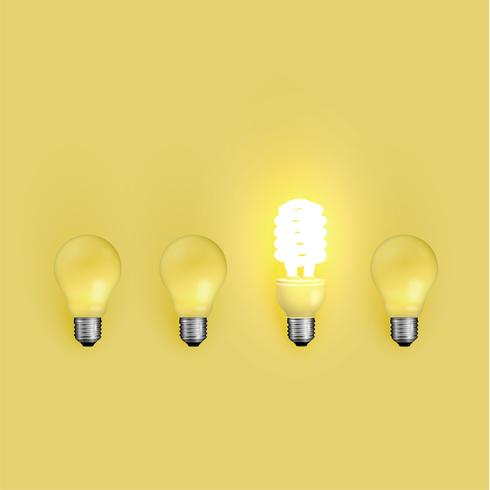 Energiespaarder en originele lightbulbs, vectorillustratie
