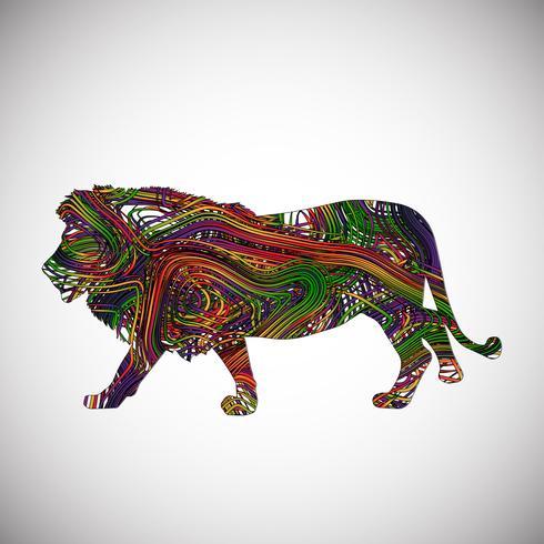 León colorido hecho por líneas, ilustración vectorial
