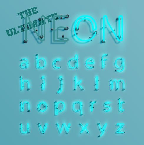Il carattere realistico del neon blu ha composto, vector