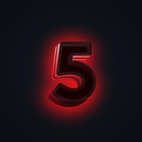 """Röd """"CLUB"""" neonljus karaktär från en fontset, vektor"""