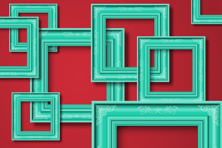 Cadre sur fond rouge, vector