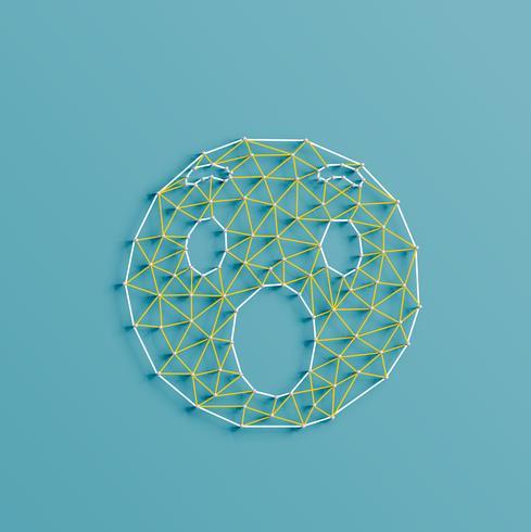 Undrar emoticon gjord av stag och stift, vektor illustration