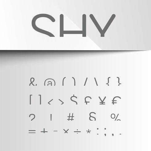 Shy font with only the top of the characters, vector