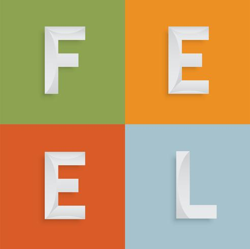 'FEEL' four-letter-word for websites, illustration, vector
