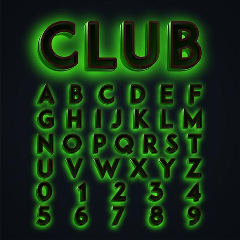 """Le luci al neon verdi di """"CLUB"""" hanno composto, vettore"""