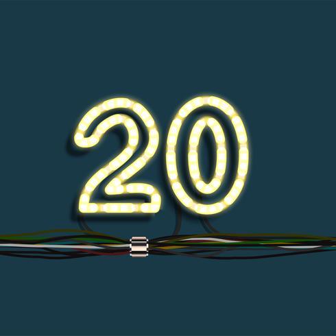 Neon krans nummer, vektor