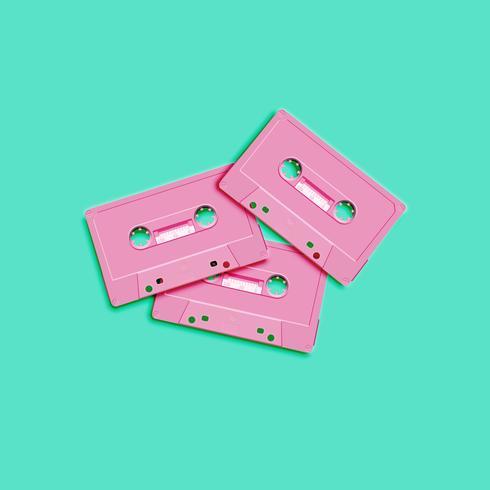 Pastell retro realistisk kassett på platt bakgrund, vektor illustration