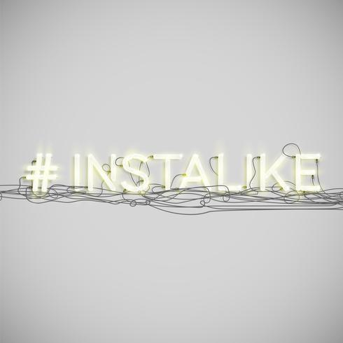 Realistisches Neon-Hashtagwort, Vektorillustration