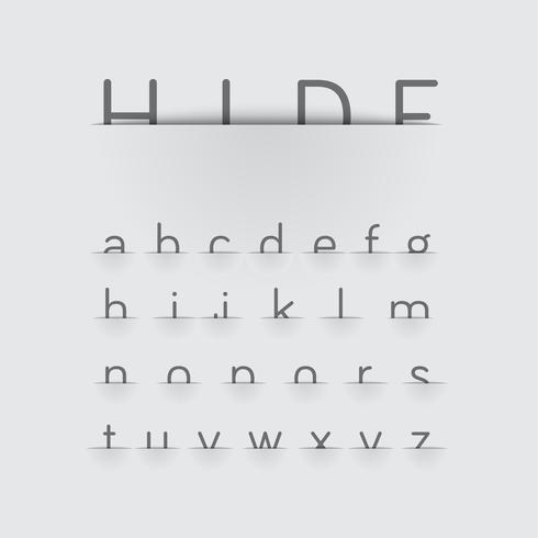 Hiding font with detailed pocket, vector