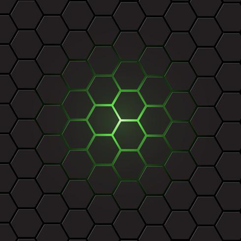 Fondo gris oscuro del hexágono, vector