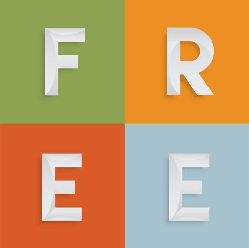 Parola 'LIBERA' di quattro lettere per siti Web, illustrazione, vettore