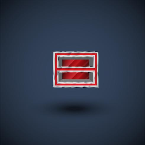 Carattere carattere 3D in acciaio rosso, vettore