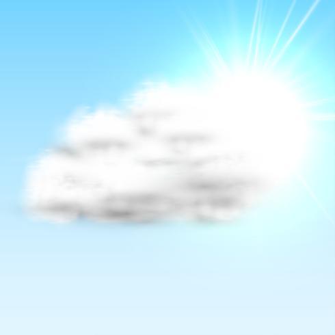Nuvem realista com sol e céu azul, ilustração vetorial