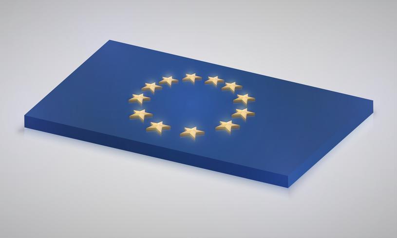 Europese Unie vlag in 3D, vector