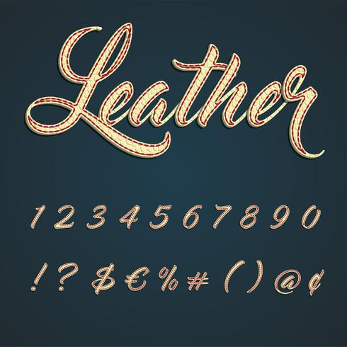 Leather font lowercase characters, vector