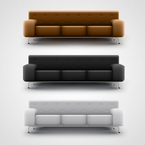 Sofás marrón, negro y blanco, vector