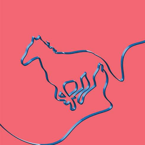 Realistic ribbon shapes an animal, vector illustration