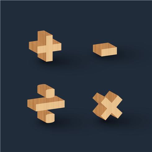 3D wood font character, vector