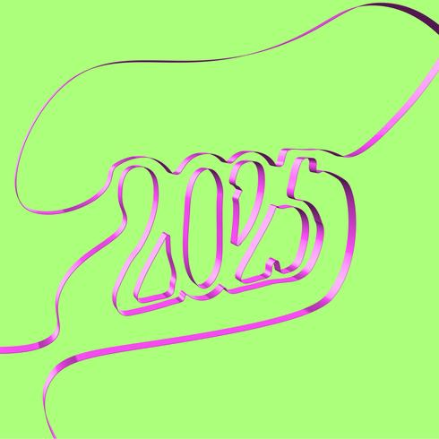 Abstract ribbon forms a year, vector illustration