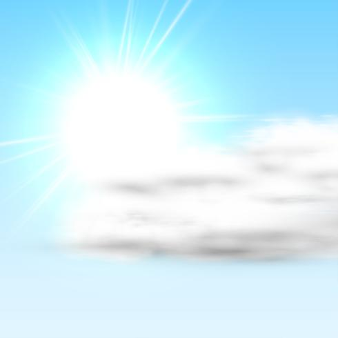 Realistic cloud with sun and blue sky, vector illustration