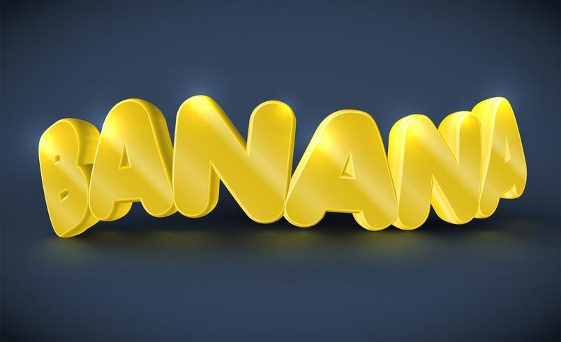 Tipografía 3D - banana, vector