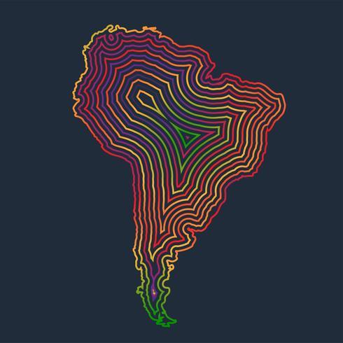 América del sur colorida hecha por trazos, vector
