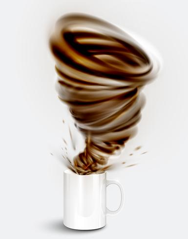 Cocoa yoghurt/drink in a cup, realistic vector illustration