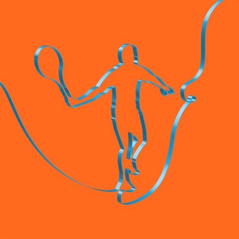 Colorful ribbon shapes a tennis player, vector