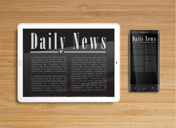 Realistische Tablette mit einem Smartphone, Vektor