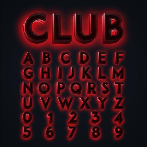 Luces de neón 'CLUB' rojas compuestas, vector