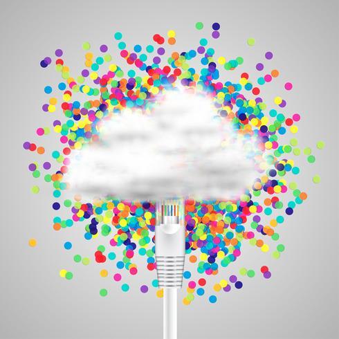 Icono de nube realista conectado, ilustración vectorial