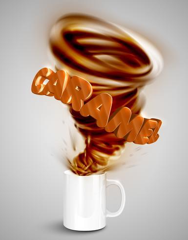 Yogur de caramelo / bebida en una taza, ilustración vectorial realista vector
