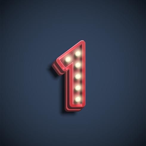 Número realista carácter con lámparas, ilustración vectorial