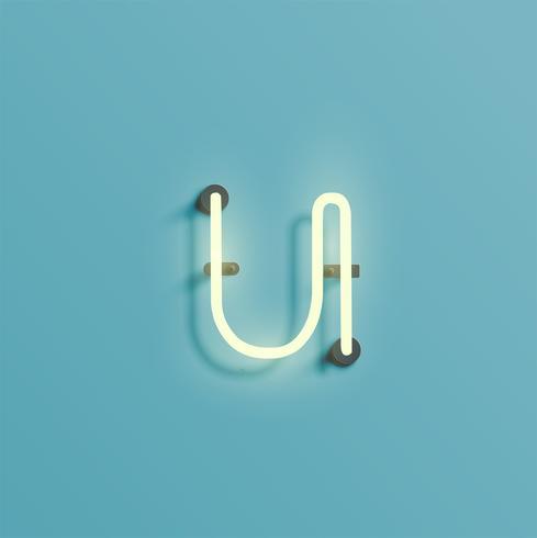 Realistisch neonkarakter van een fontset, vector