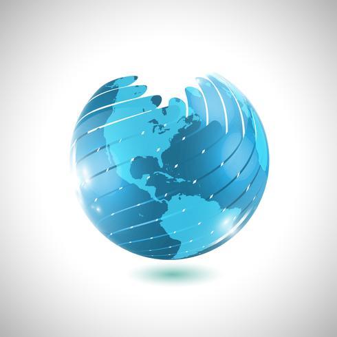 Boule de globe bleu, illustration vectorielle